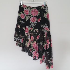 Silk asymmetric skirt
